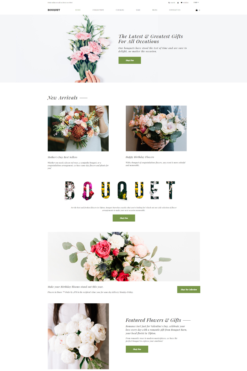 """Bouquet - Flower Shop E-commerce Modern"" - адаптивний Shopify шаблон №82064"