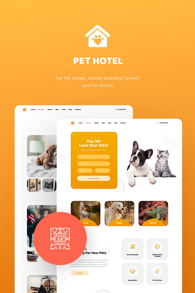 """PetHotel - Pet Hotels, Animal Boarding and Pet Sitters"" - адаптивний WordPress шаблон №82059"