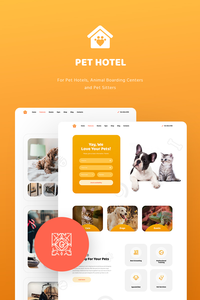 """PetHotel - Pet Hotels, Animal Boarding and Pet Sitters"" 响应式WordPress模板 #82059"
