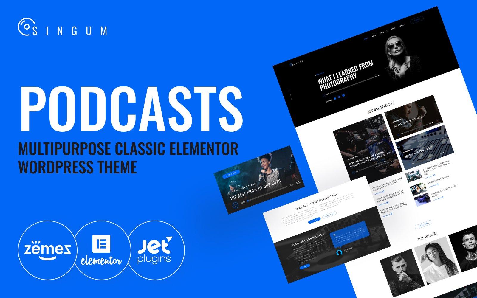 Responsivt Singum - Podcaster Multipurpose Classic Elementor WordPress-tema #82015
