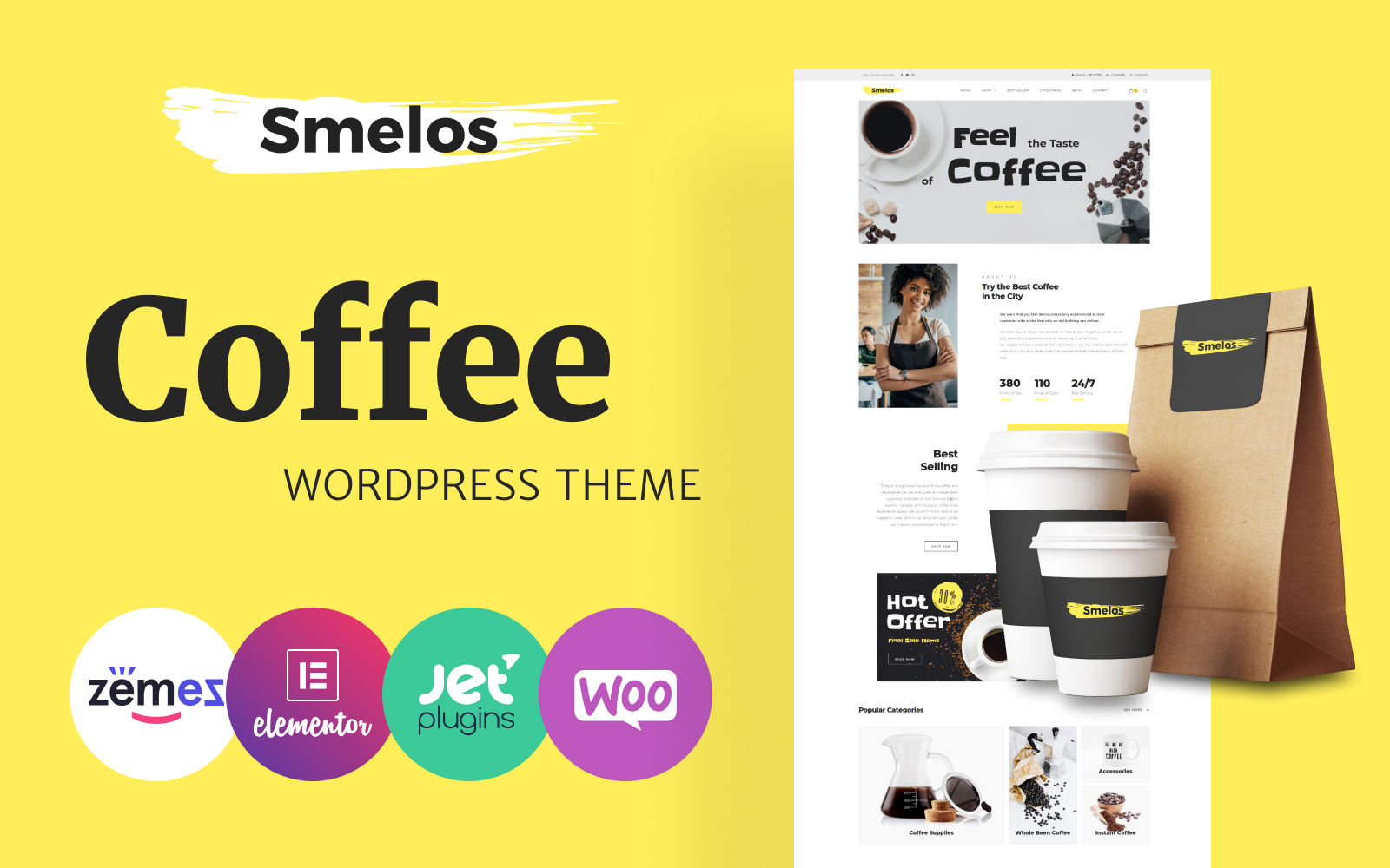 """""""Smelos - Coffee Shop ECommerce Classic Elementor"""" 响应式WooCommerce模板 #82005"""