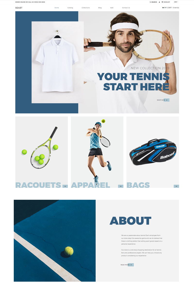 """Squet - Tennis Multipage Clean"" Responsive Shopify Thema №82000"