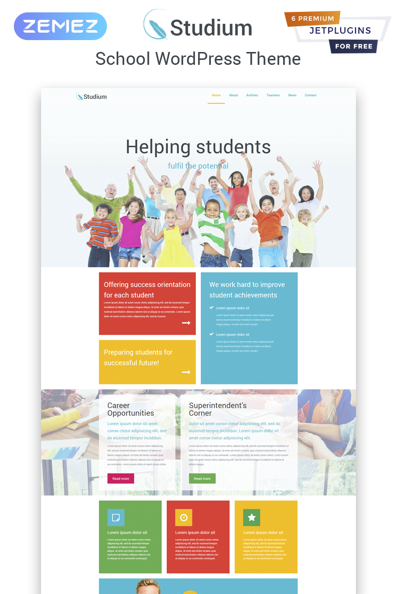 Studium - Education Multipurpose Modern Elementor Tema WordPress №82065
