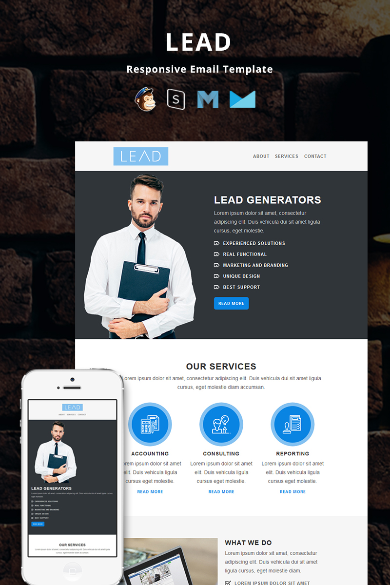 "Tema di Newsletter Responsive #82011 ""Lead - Corporate Responsive"""