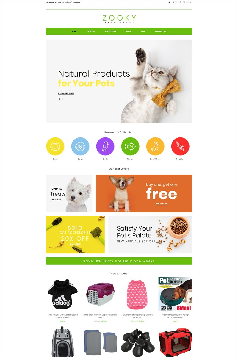 """Zooky - Pets Shop E-commerce Clean"" - адаптивний Shopify шаблон №82061"