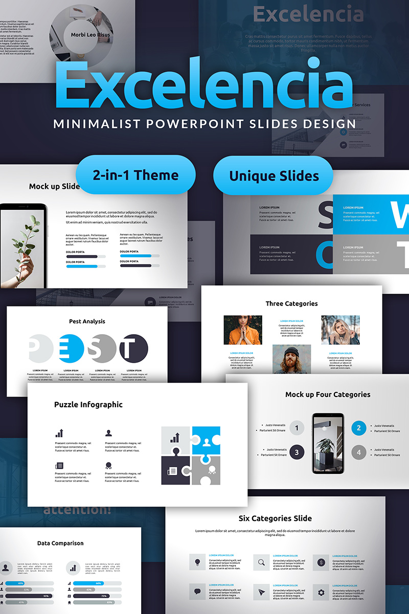 Excelencia Minimalist PowerPoint Slides Design PowerPoint Template