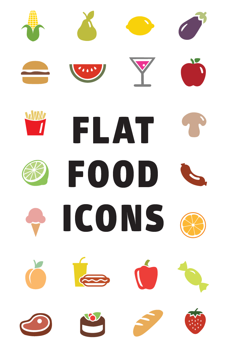 Flat Food Iconset Template
