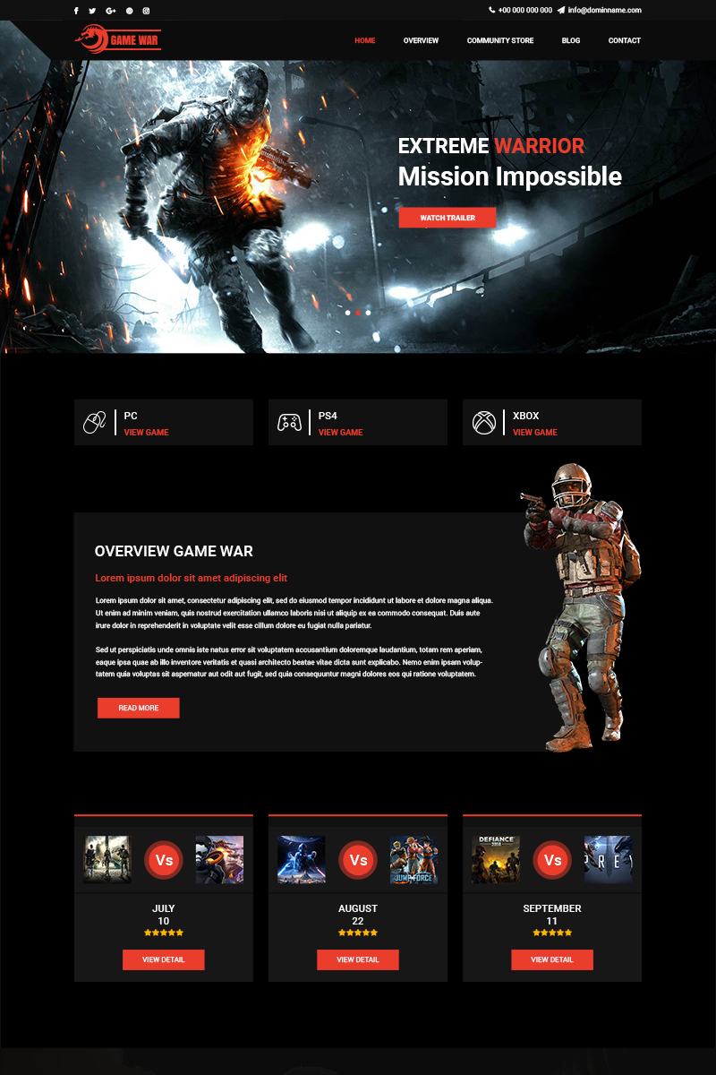 Game War - Game Portal PSD Template - screenshot