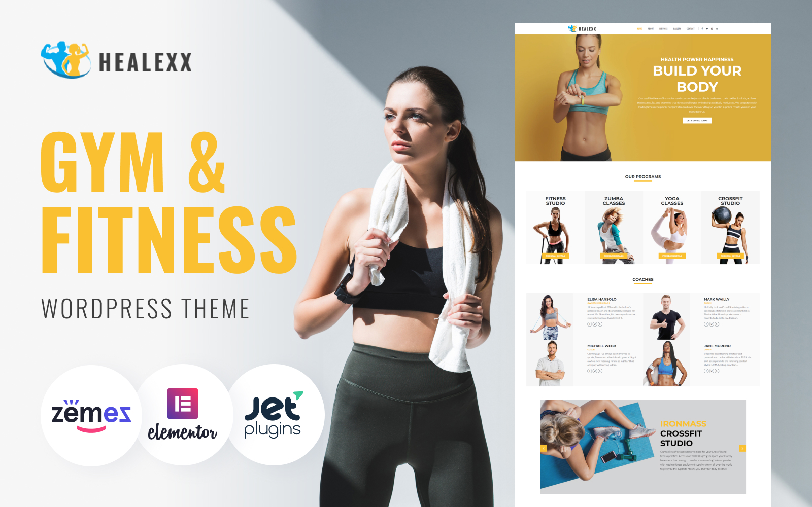 """Healexx - Gym Multipurpose Modern Elementor"" thème WordPress adaptatif #82167"