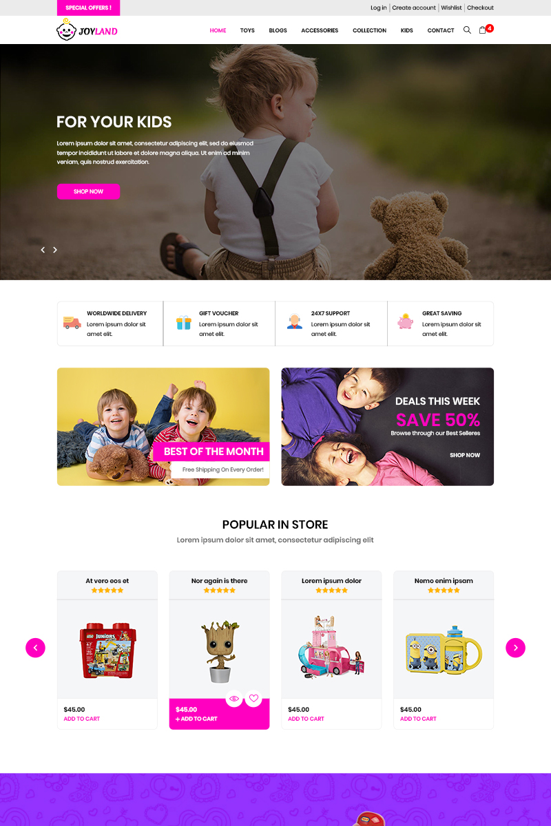 Joyland - Toy Store PSD Template
