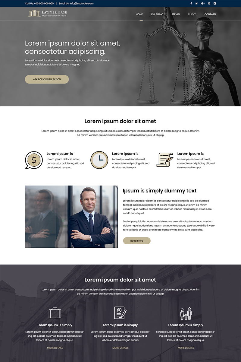 """""""Lawyer Base - Law Firm"""" PSD Template №82162"""