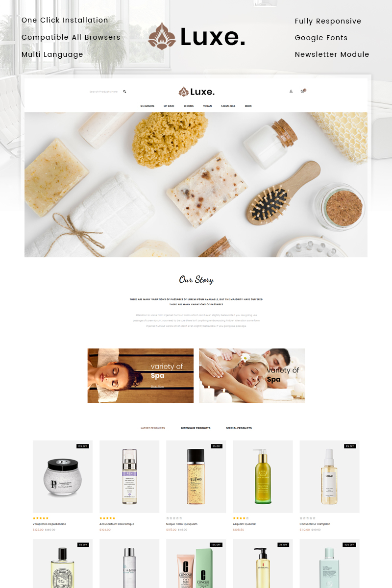 """Luxe Spa Store"" Responsive OpenCart Template №82144"