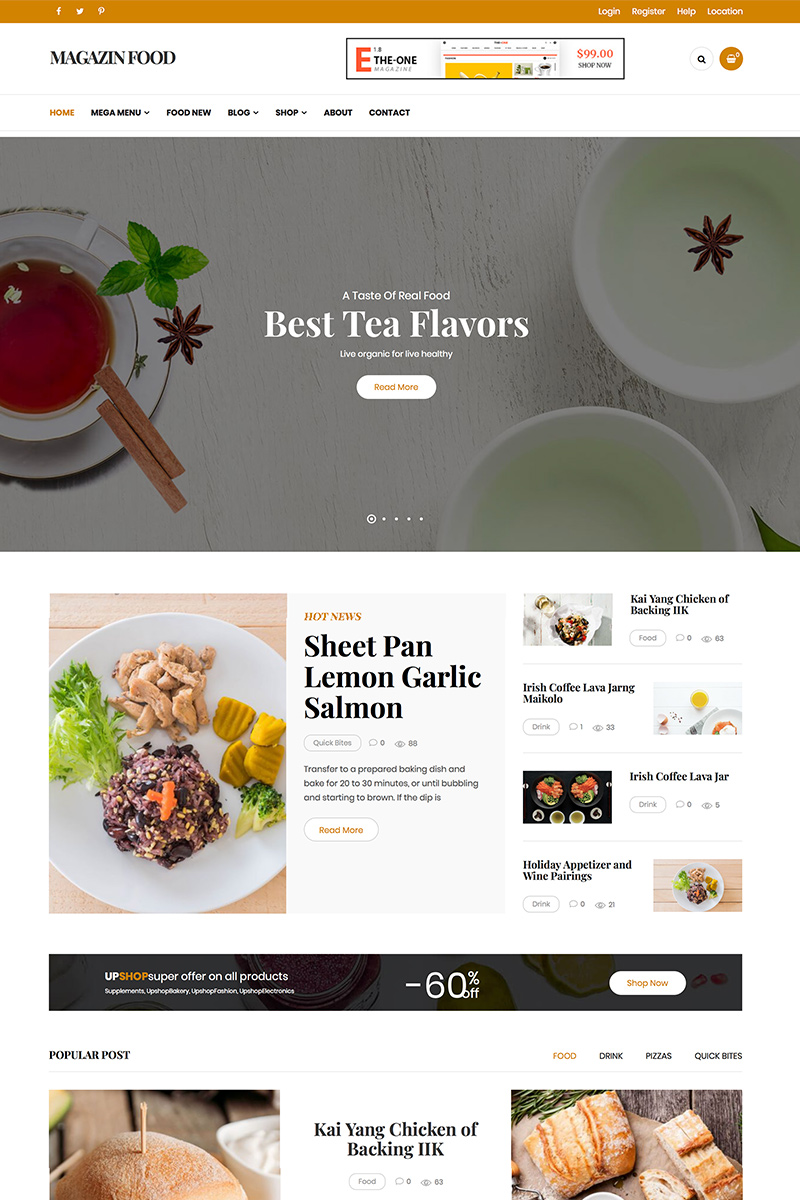 Magazine - Food Blog WordPress Theme