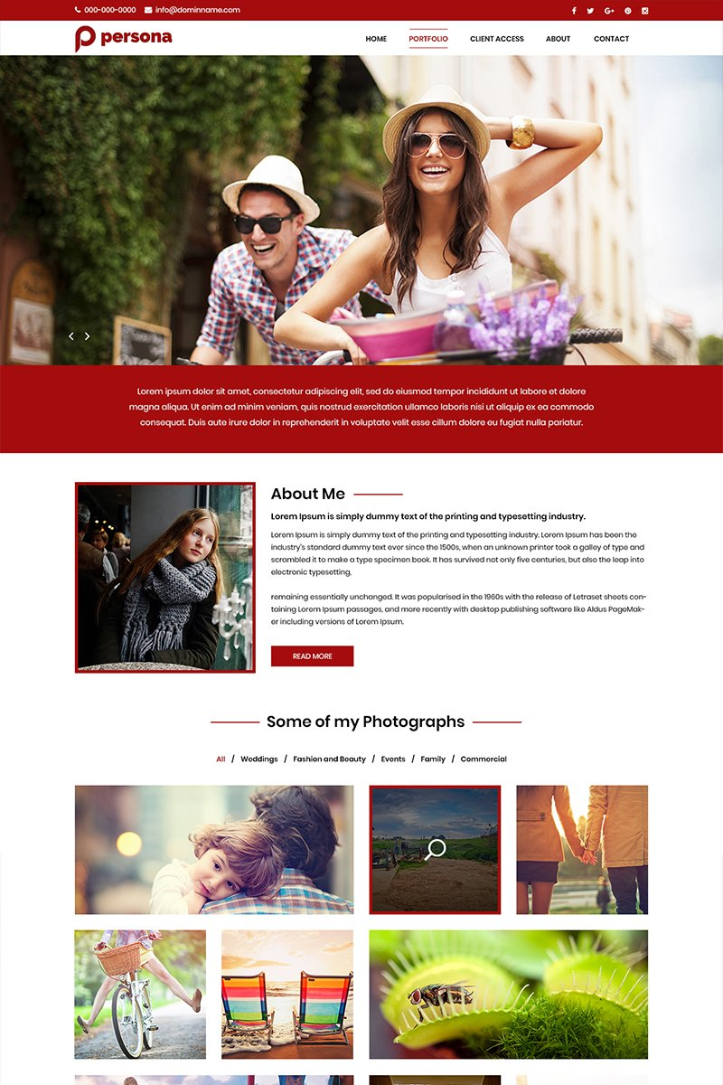 Persona - Photography PSD Template