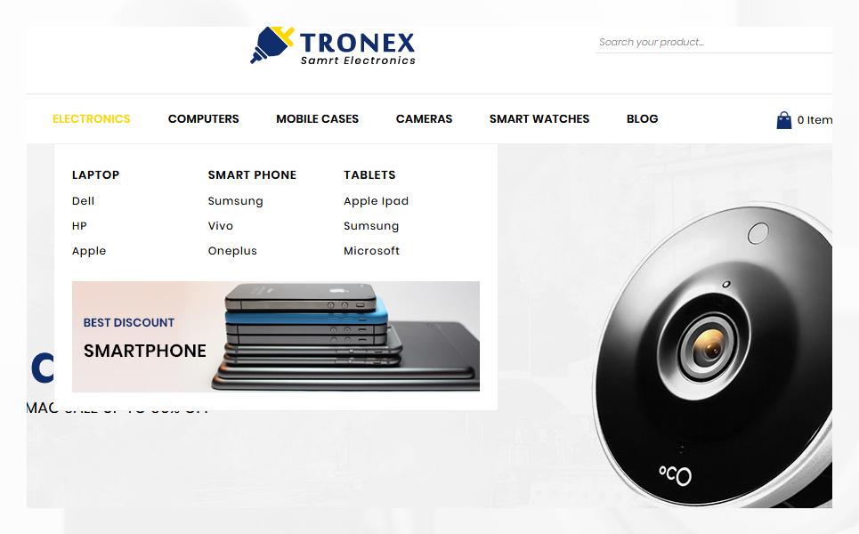 "PrestaShop Theme namens ""Tronex Electronics Shop"" #82180"