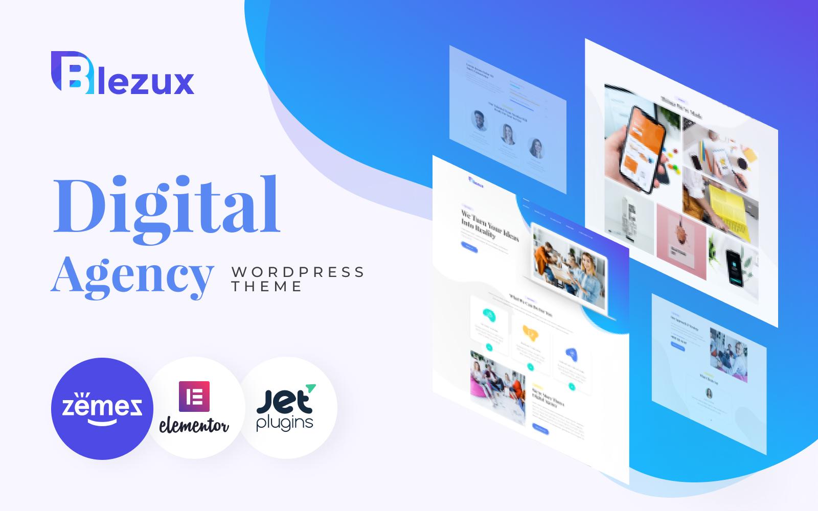Responsive Blezux - Digital Multipurpose Modern Elementor Wordpress #82198