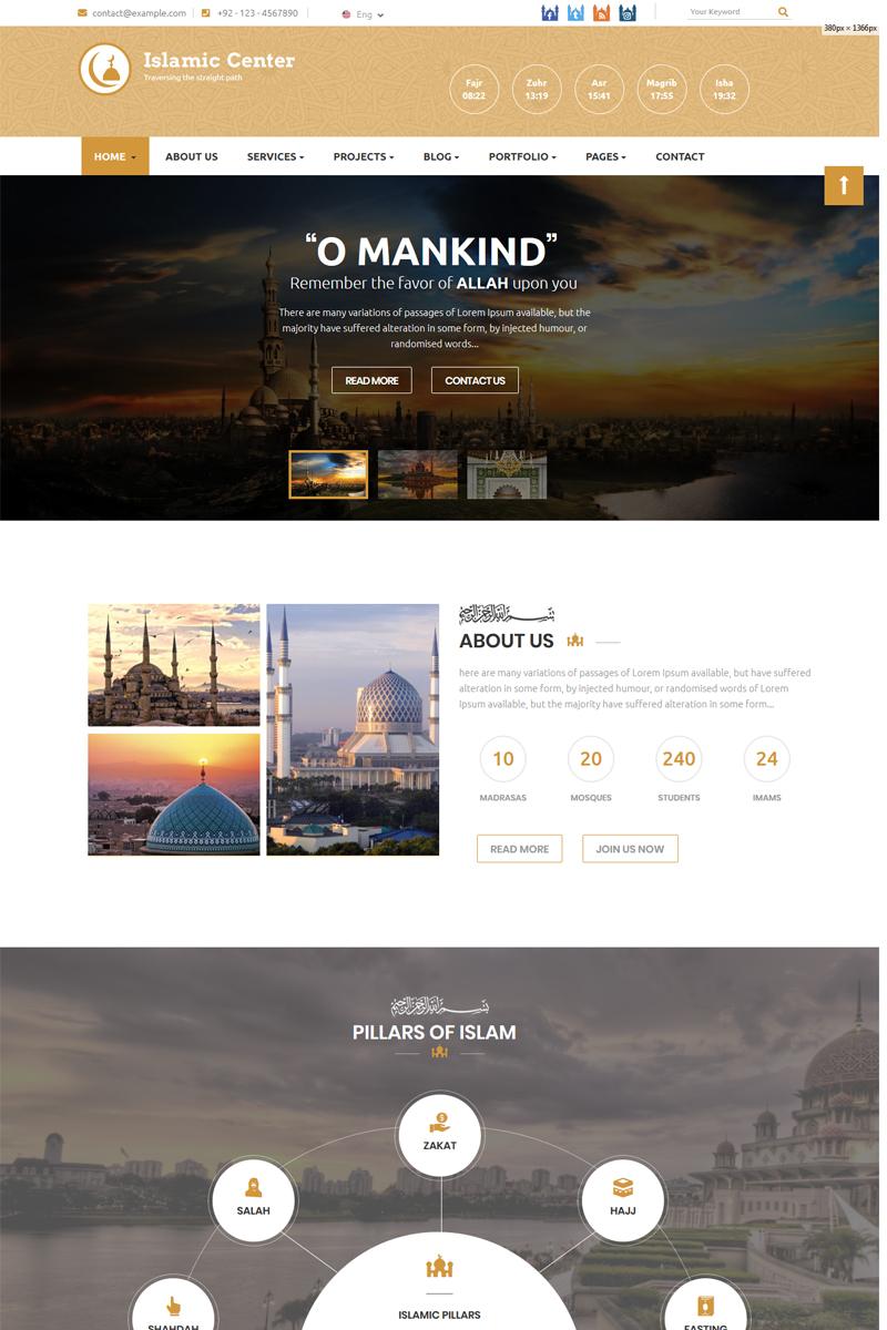 Responsywny szablon Joomla Islamic Center #82172 - zrzut ekranu