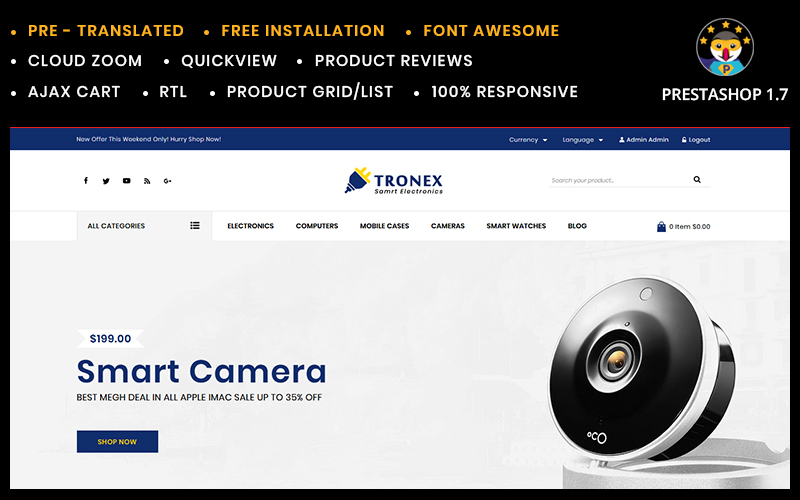 Reszponzív Tronex Electronics PrestaShop sablon 82180