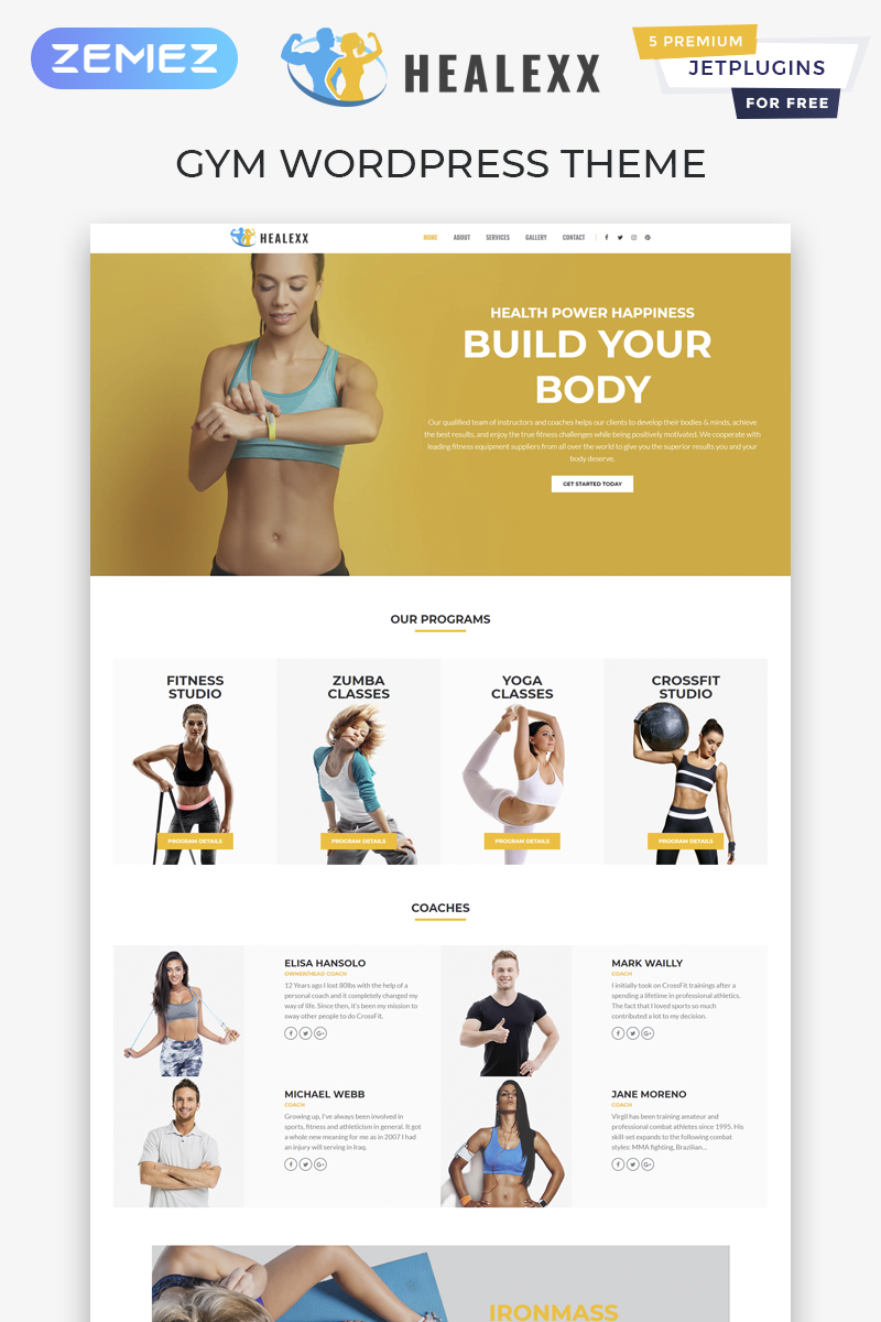 "Tema De WordPress ""Healexx - Gym Multipurpose Modern Elementor"" #82167"