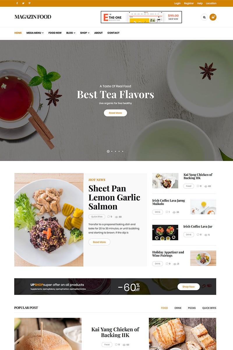 "Tema De WordPress ""Magazine - Food Blog"" #82110 - captura de pantalla"