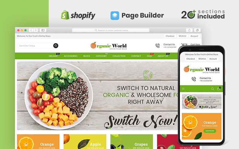 "Template Shopify Responsive #82177 ""Organic World Food and Grocery Store"""