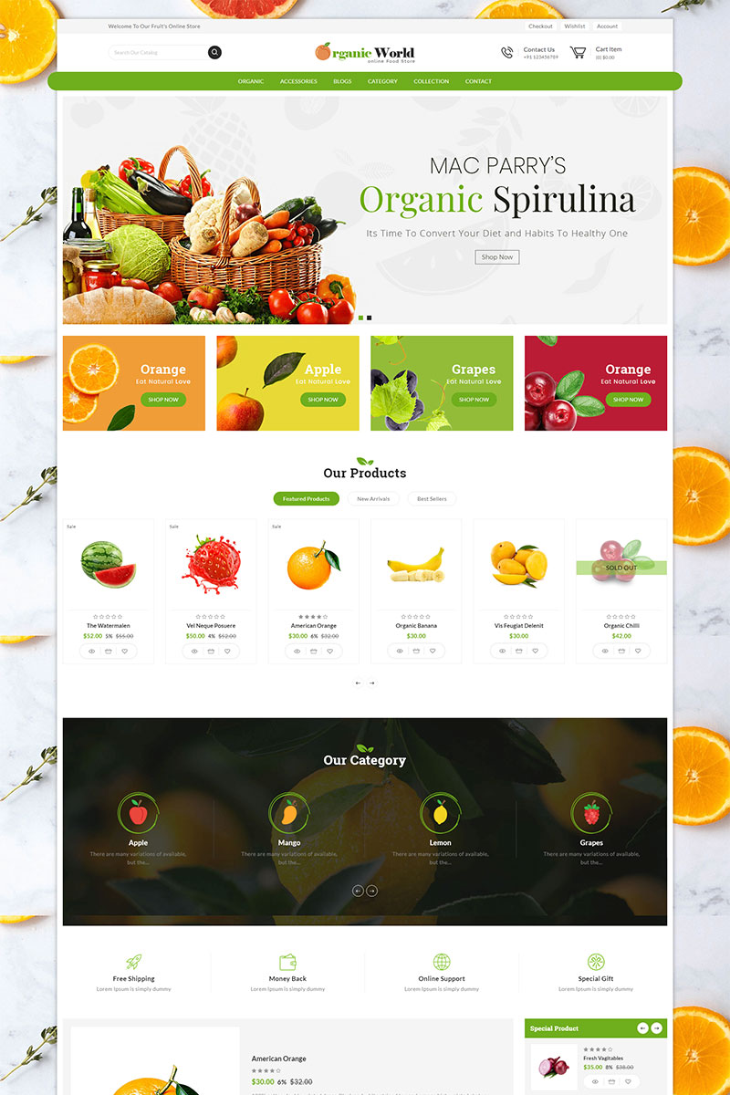 """Template Shopify Responsive #82177 """"Organic World Sectioned"""""""