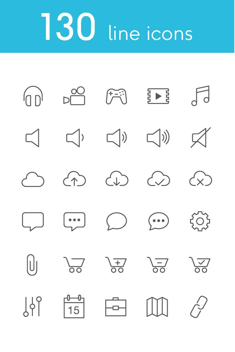 Vector Line Icons and Font Conjunto de Ícones №82179
