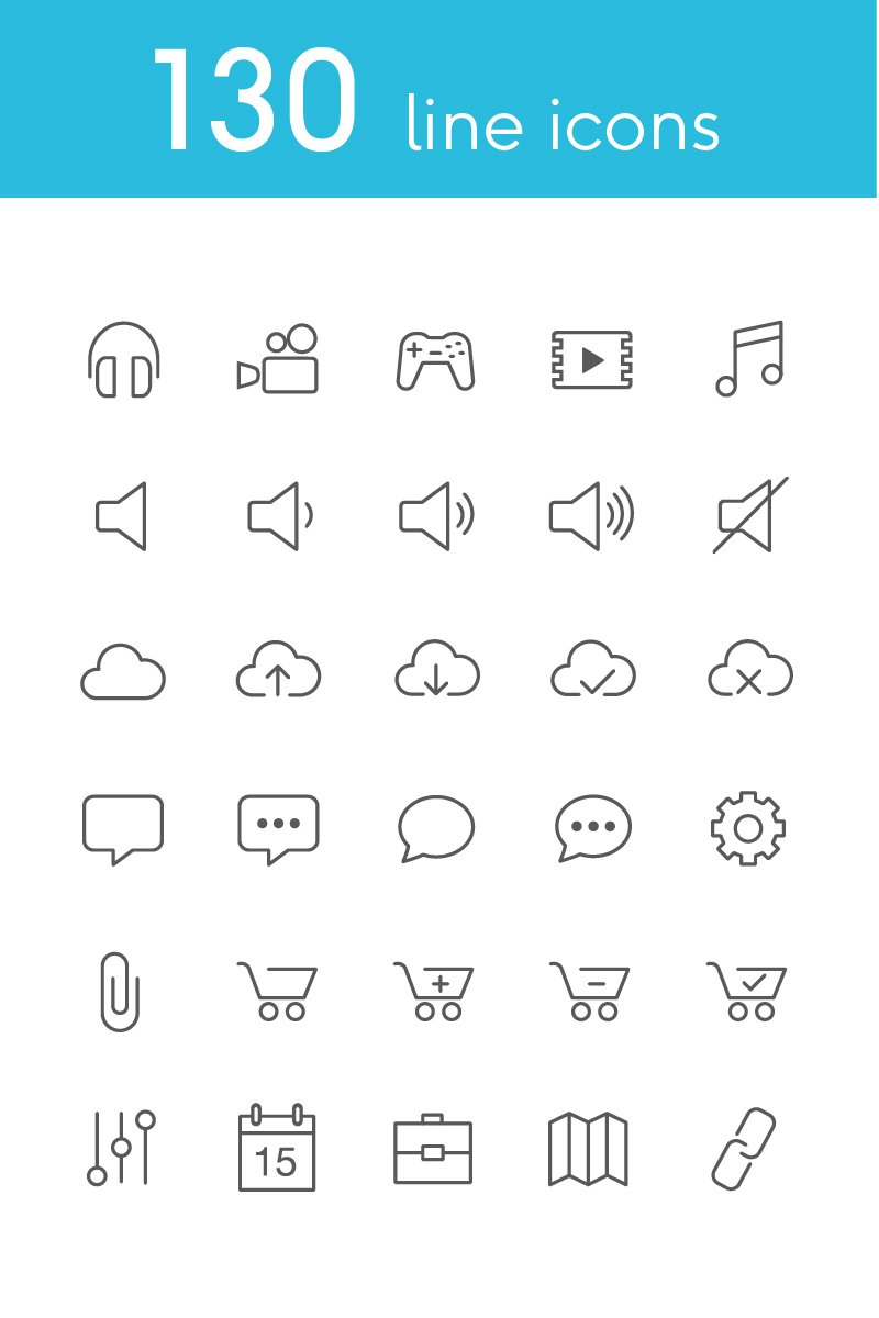 Vector Line Icons and Font Iconset #82179