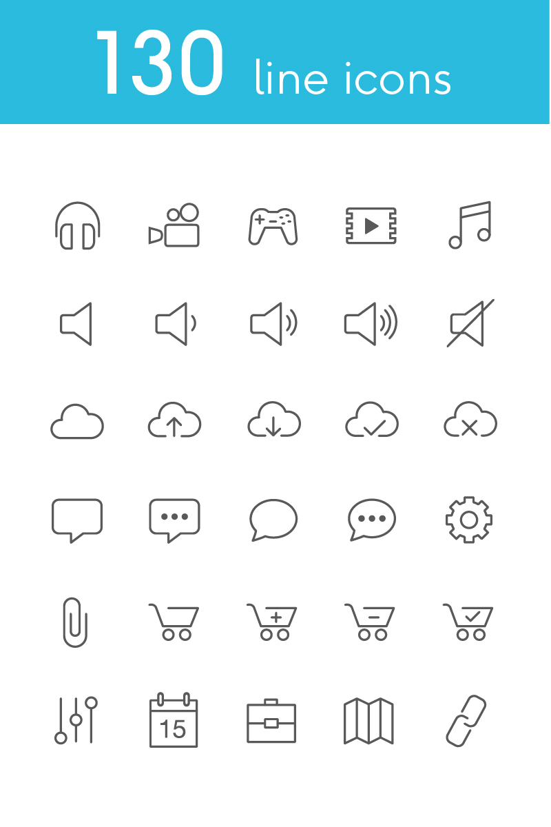 """""""Vector Line Icons and Font"""" 图标集模板 #82179"""