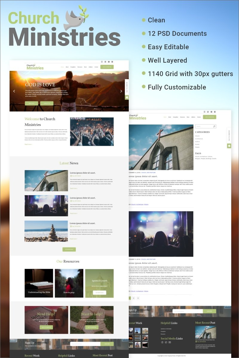 Church Ministries PSD Template - screenshot