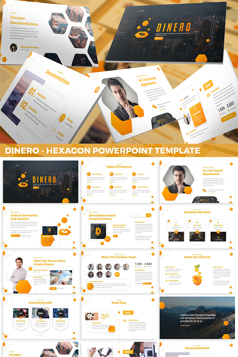 Dinero - Hexagon PowerPoint Template