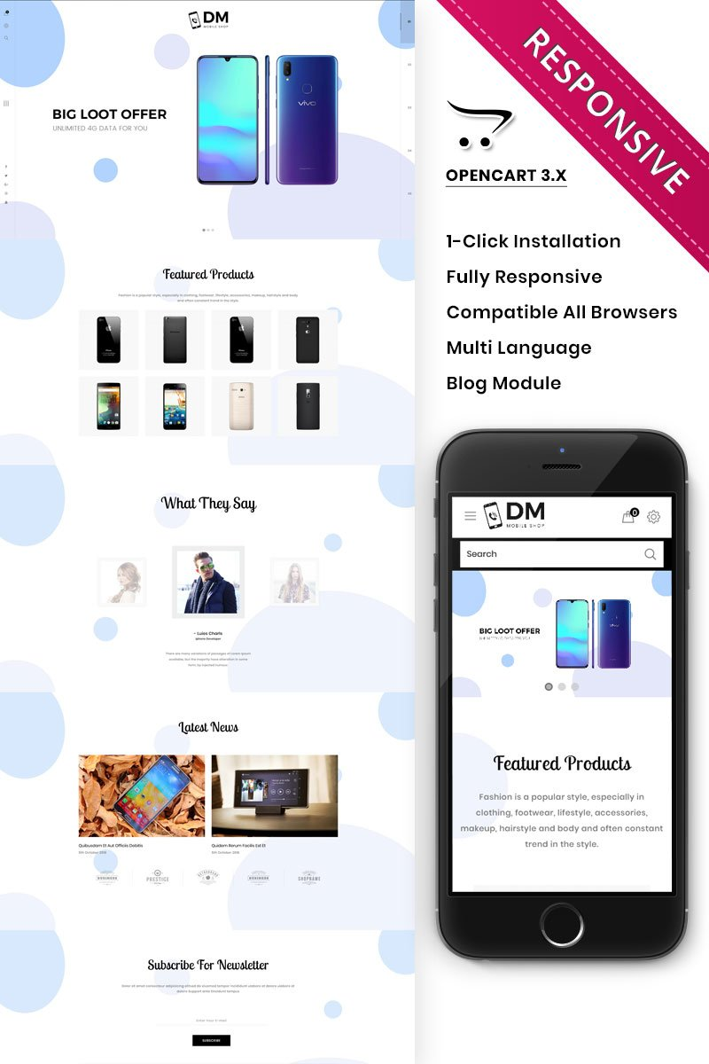 """DM Collection Mobile Store Responsive"" - адаптивний OpenCart шаблон №82208"