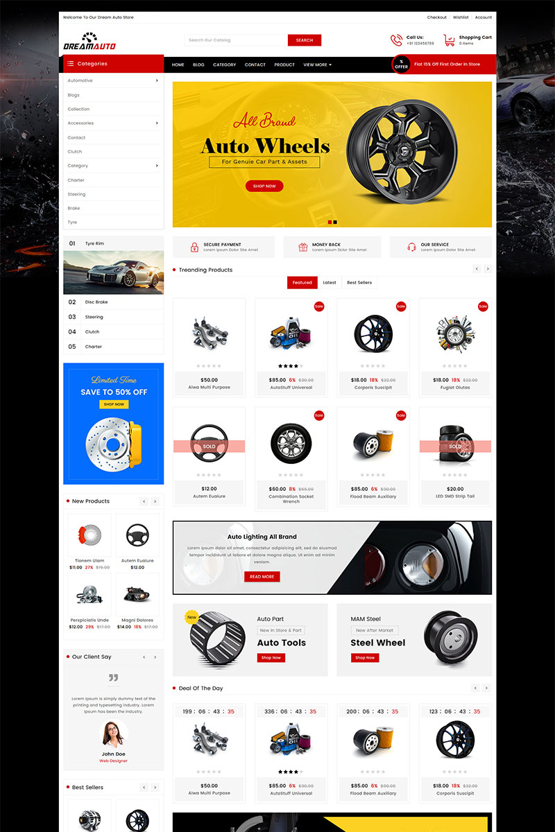 """Dream Auto Parts"" 响应式Shopify模板 #82235"