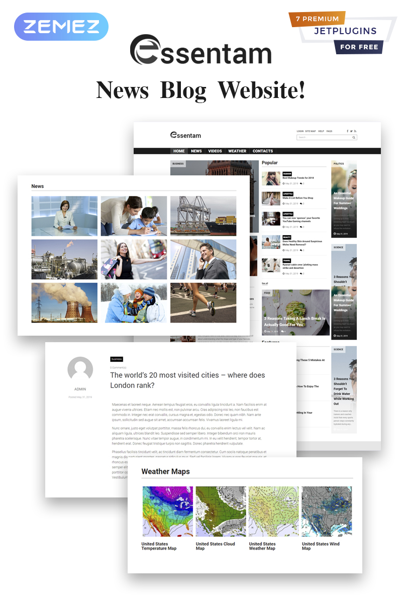 """Essentam - News Blog Multipurpose Classic"" - адаптивний WordPress шаблон №82289"