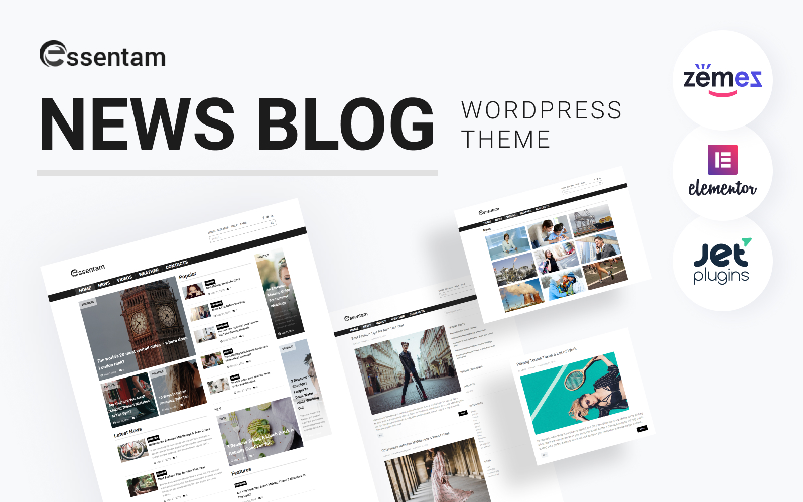 """Essentam - News Blog Multipurpose Classic"" thème WordPress adaptatif #82289"