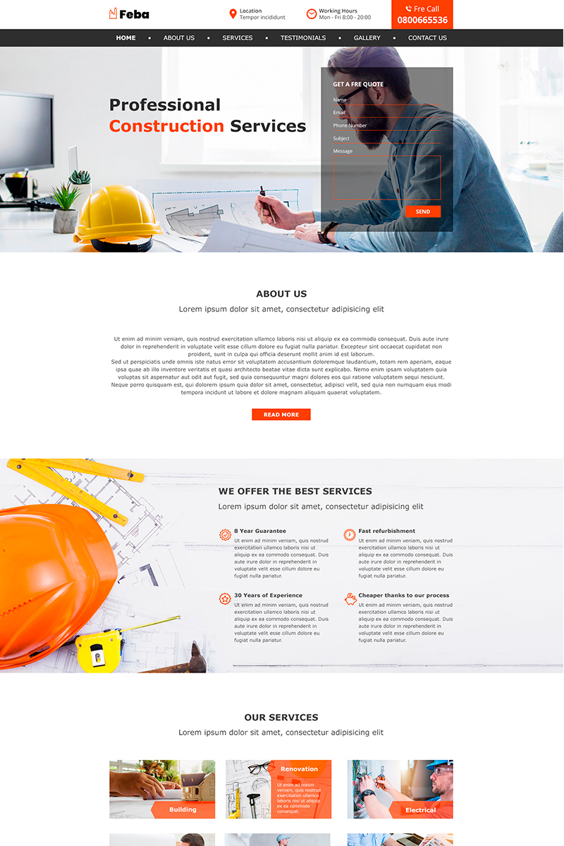 """Feba | Construction"" - PSD шаблон №82262"