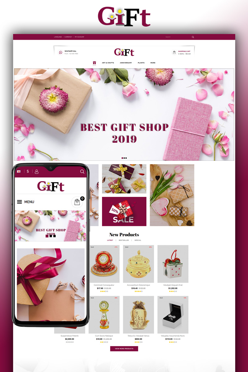 """Gift - Online Store"" - bootstrap OpenCart шаблон №82278"