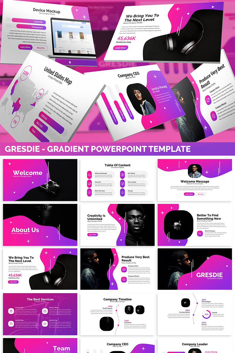Gresdie - Gradient Abstract PowerPoint Template