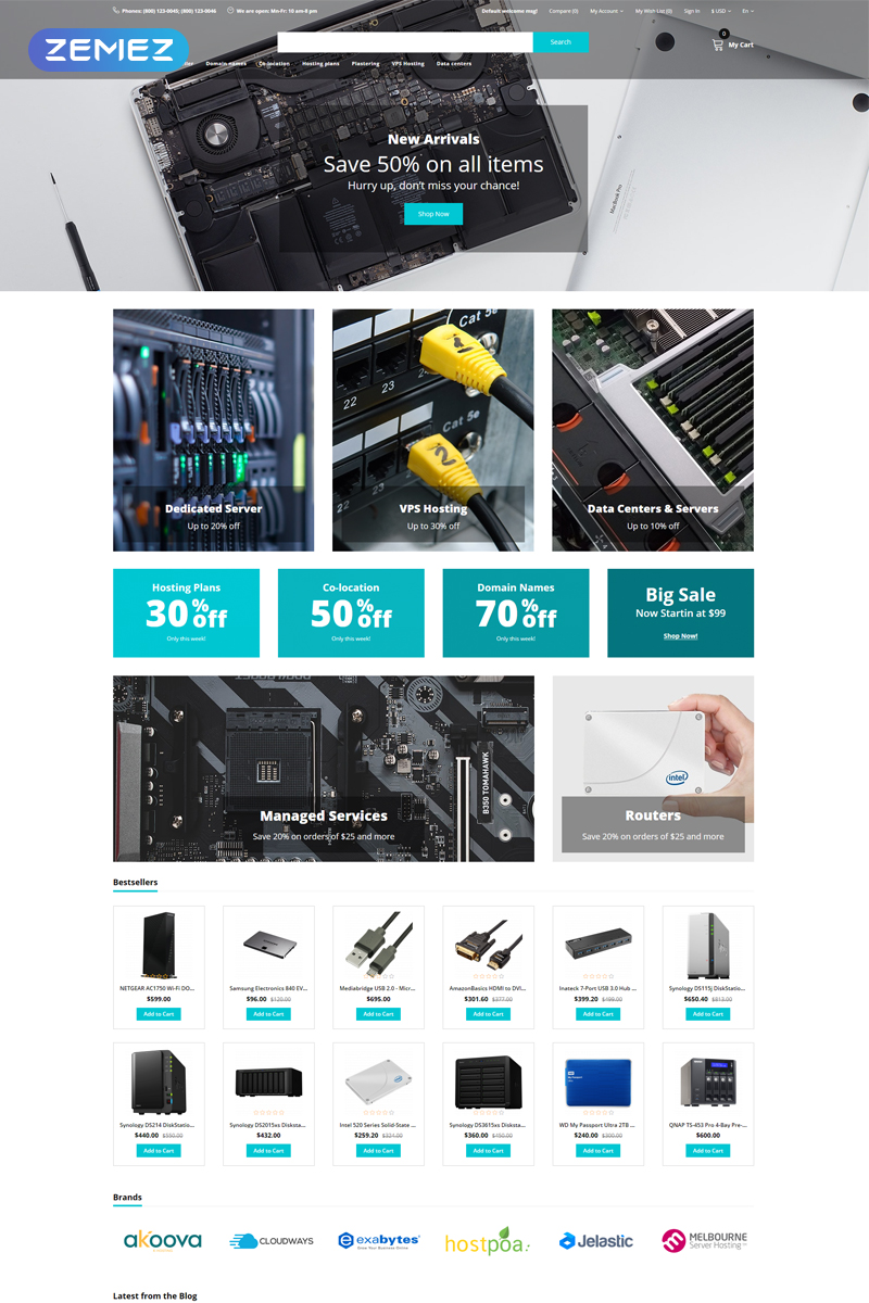 Hostia - Hosting E-Commerce Clean OpenCart Template