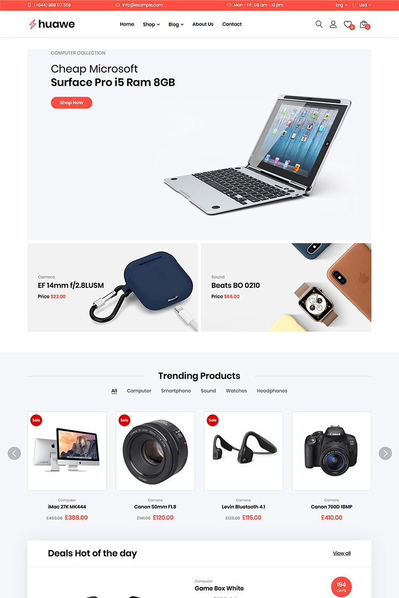 """Huawe - Electronics Shop WooCommerce Theme"" - WooCommerce шаблон №82217 - скріншот"