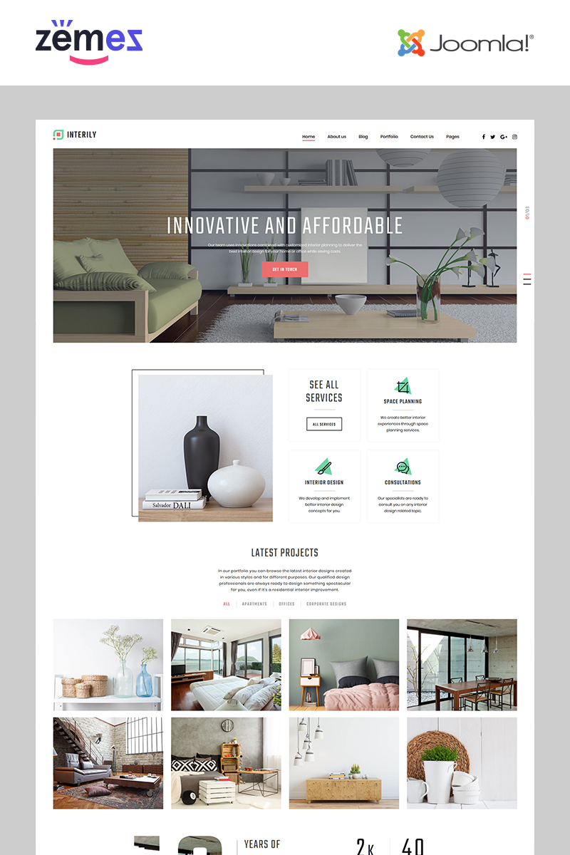 "Joomla Vorlage namens ""Interily - Interior Design E-Commerce Modern"" #82202"