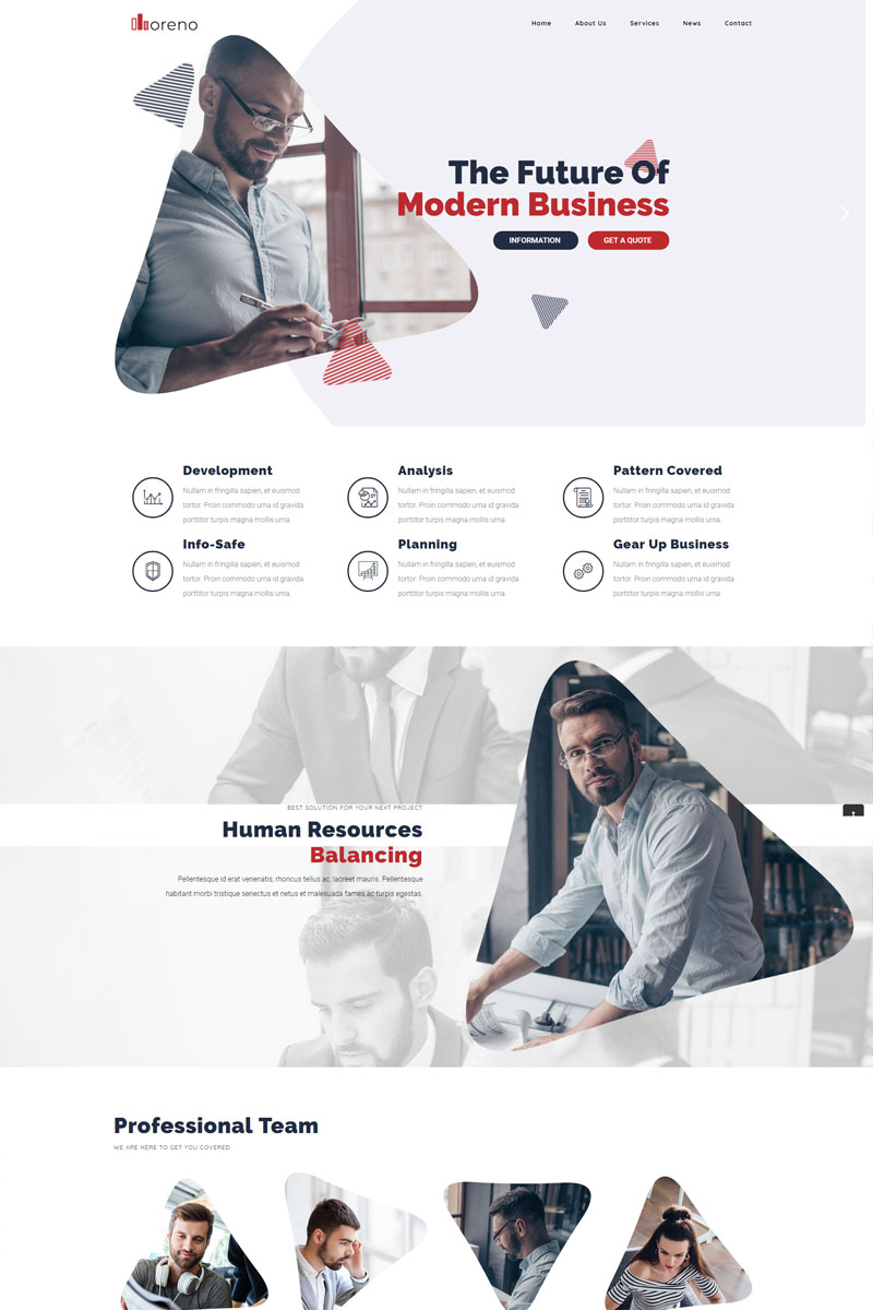 """Moreno Modern Business"" Responsive WordPress thema №82267"