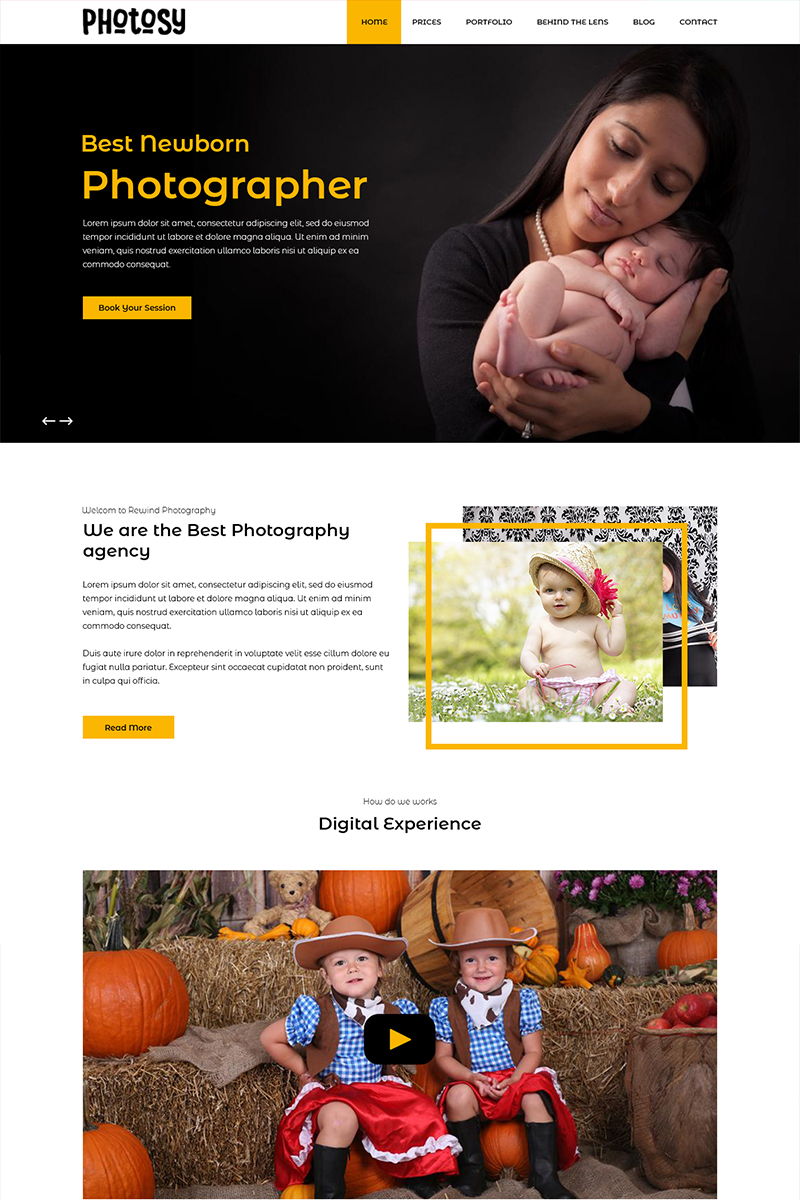 Photosy - Baby Photography PSD Template