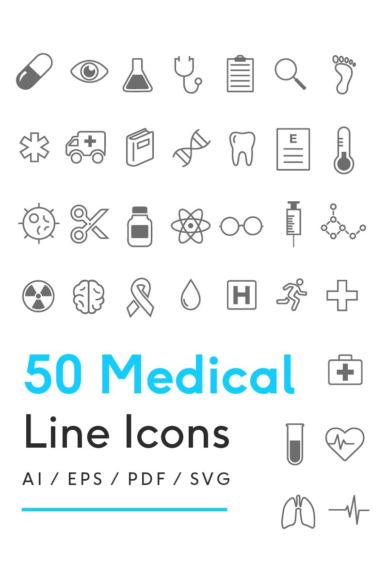 "Plantilla De Conjunto De Iconos ""Medical Line"" #82266 - captura de pantalla"