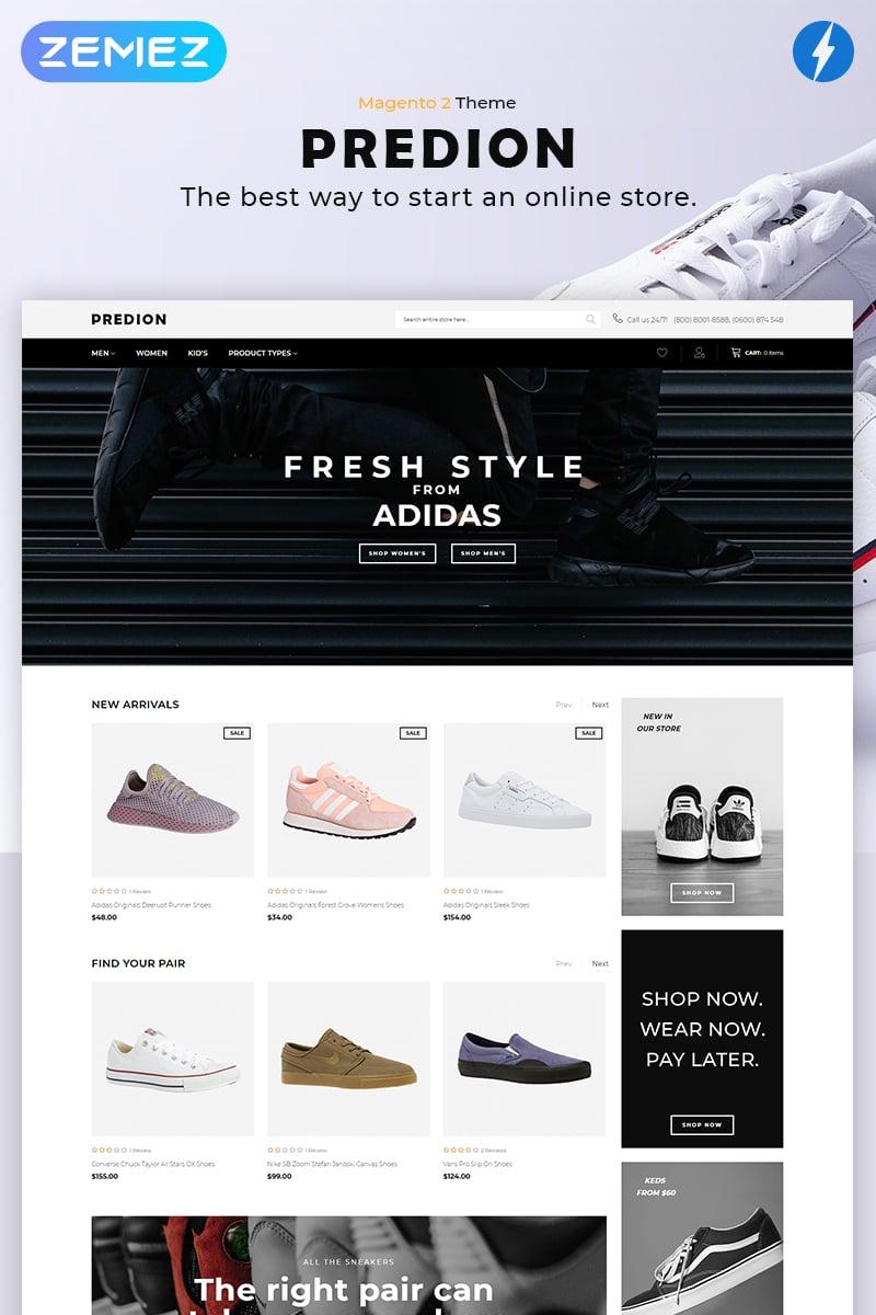 """Predion - eCommerce Simple Shoe Store"" Magento Thema №82297"