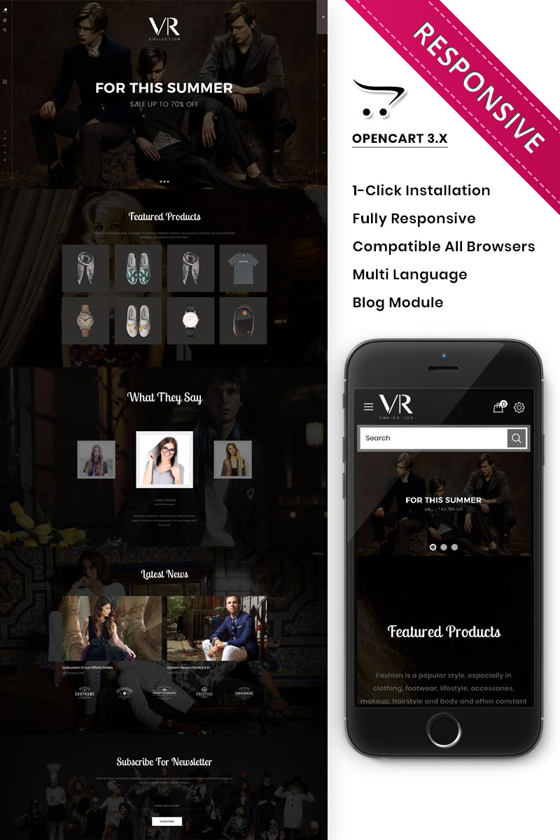 Responsive VR Collection Fashion Store Responsive Opencart #82205