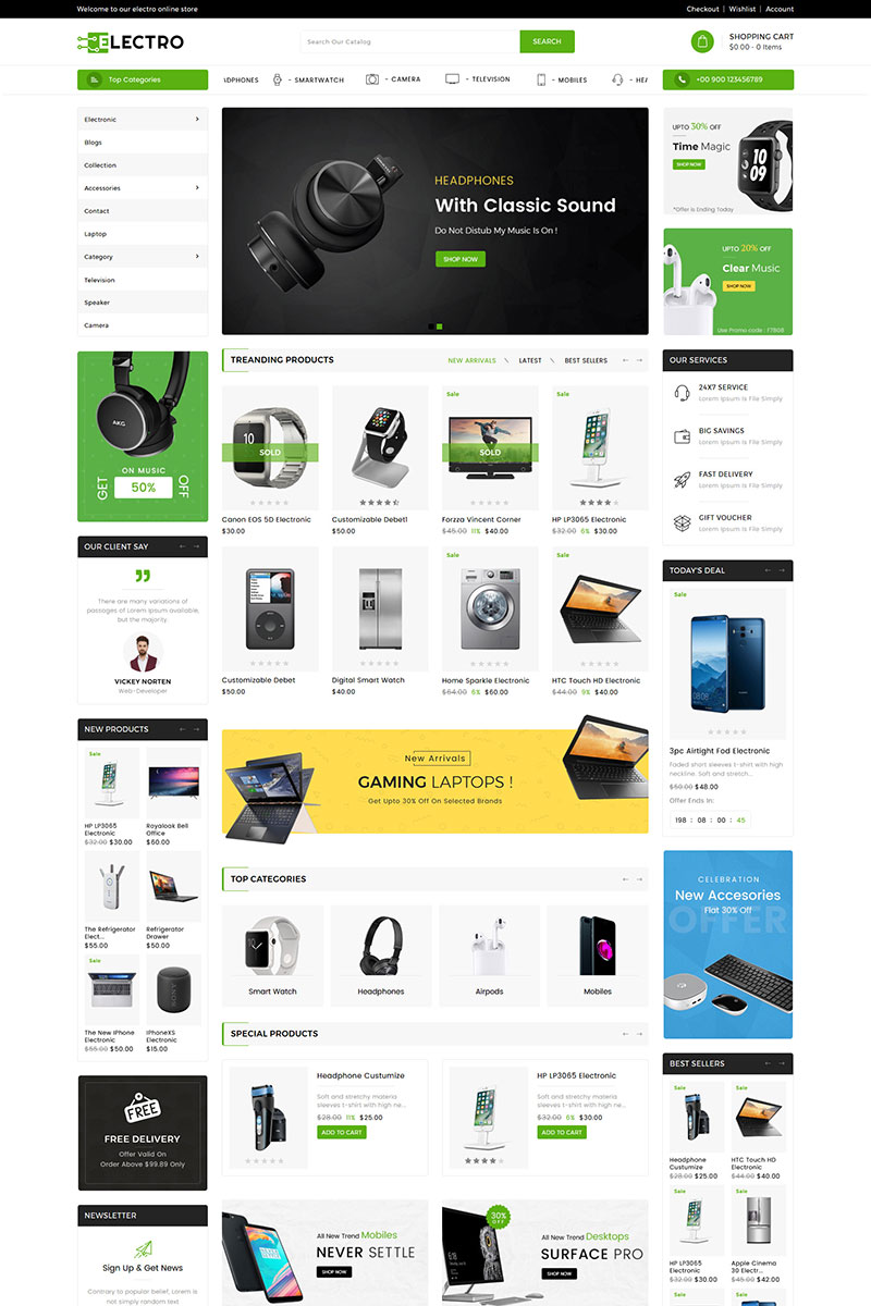 Reszponzív Electro Electronics Shopify sablon 82279