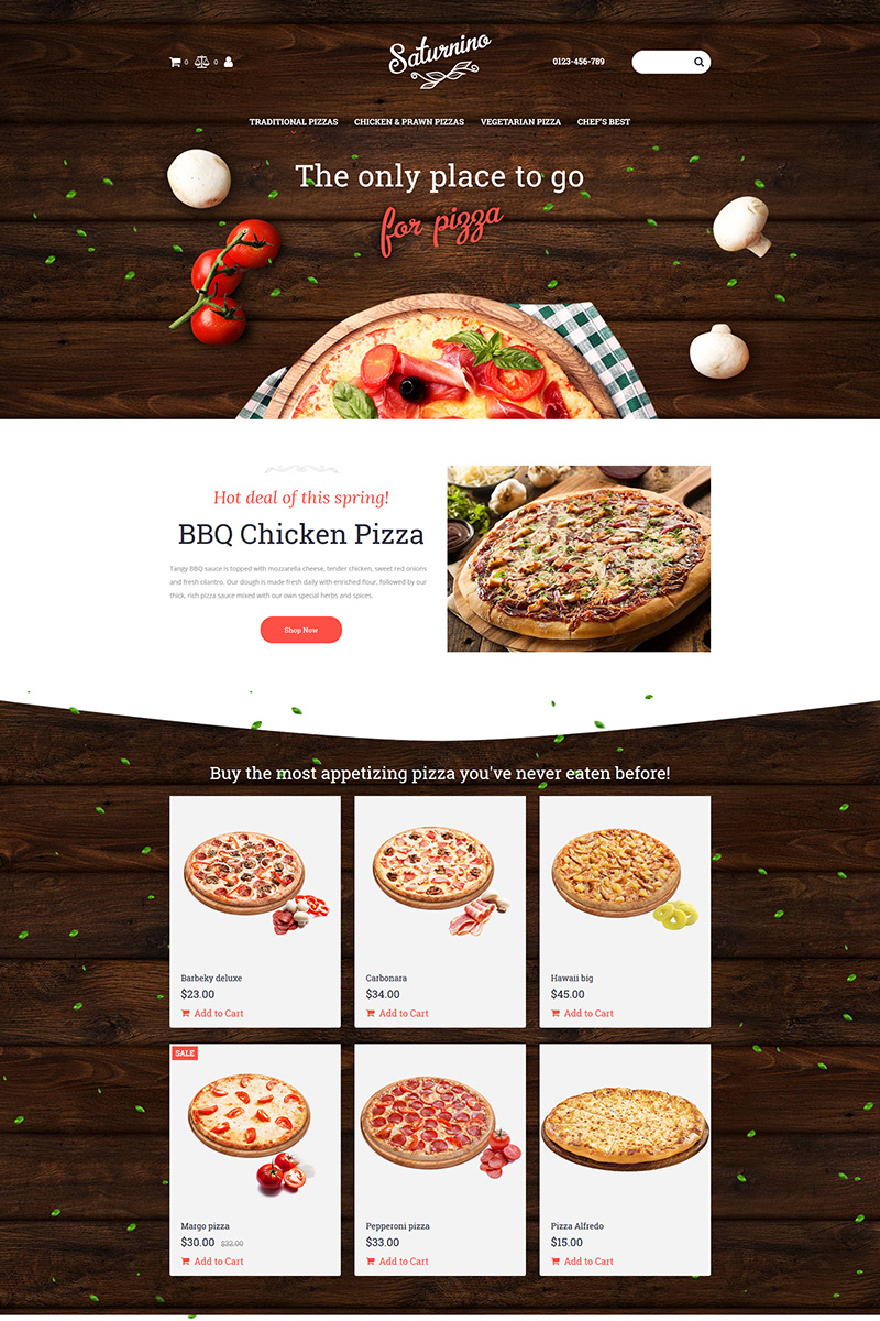 Saturnino - Pizza MotoCMS Ecommerce Template