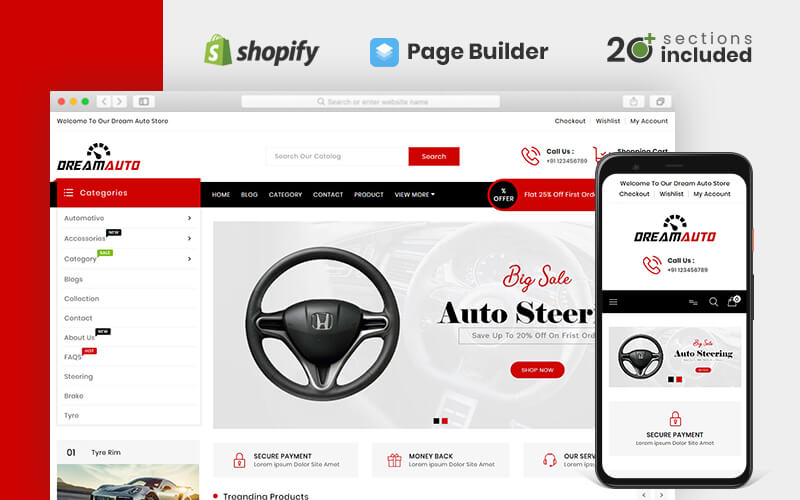 "Shopify Theme namens ""Dream Auto Parts"" #82235"