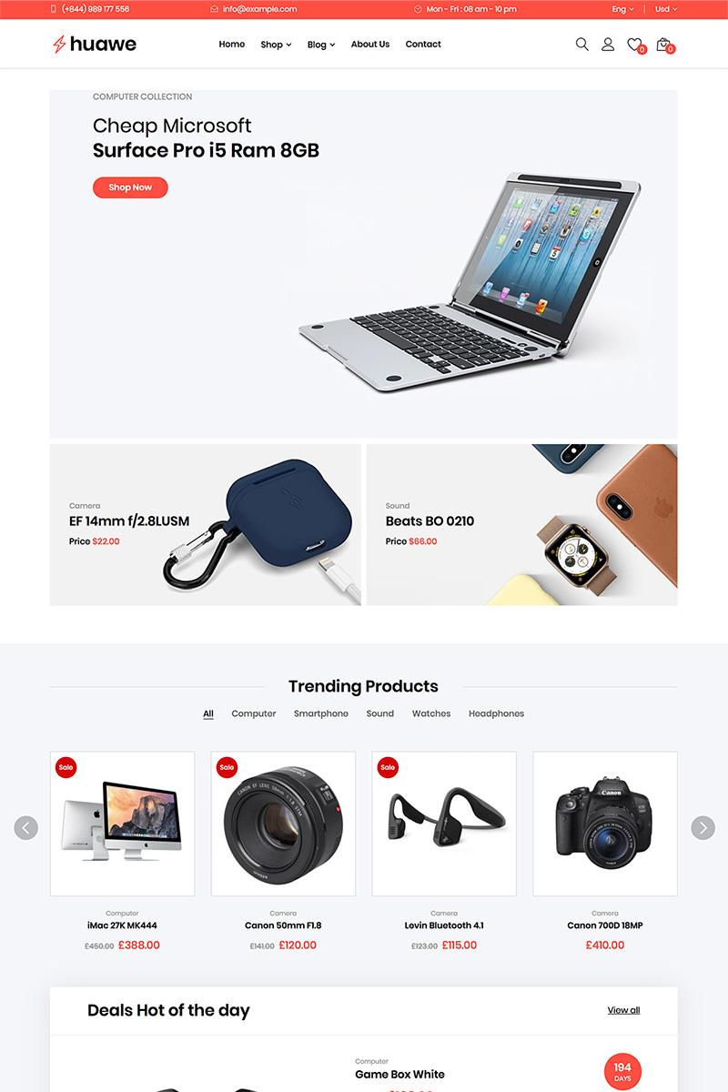 "Tema WooCommerce ""Huawe - Electronics Shop WooCommerce Theme"" #82217 - captura de pantalla"